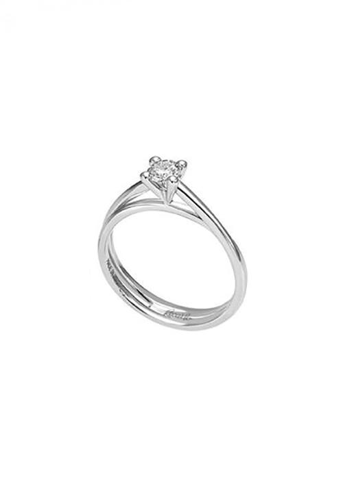 Recarlo Anello Solitario - Oro Bianco 18 Kt e Diamanti  Carati 0.23