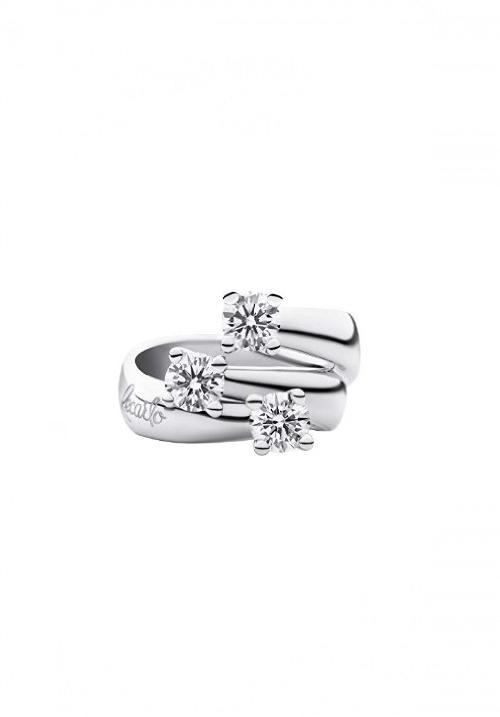 Recarlo Anello 3 Diamanti - Oro Bianco 18 Kt e Diamanti  Carati 0.465