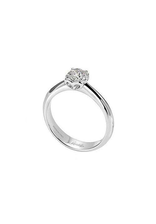 ReCarlo Anello Solitario - Oro bianco 18 Kt e Diamante Carati 0.07