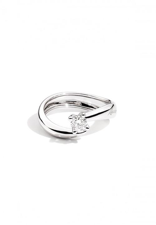 Recarlo Anello Solitario Eternity - Oro Bianco 18 Kt e Diamanti  Carati 0.19
