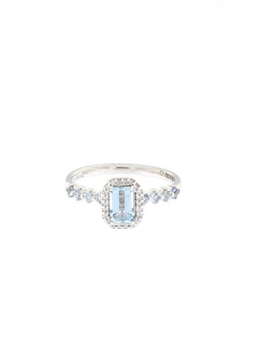 ReCarlo anello Acquamarina - Oro bianco 18 Kt e diamanti taglio brillante