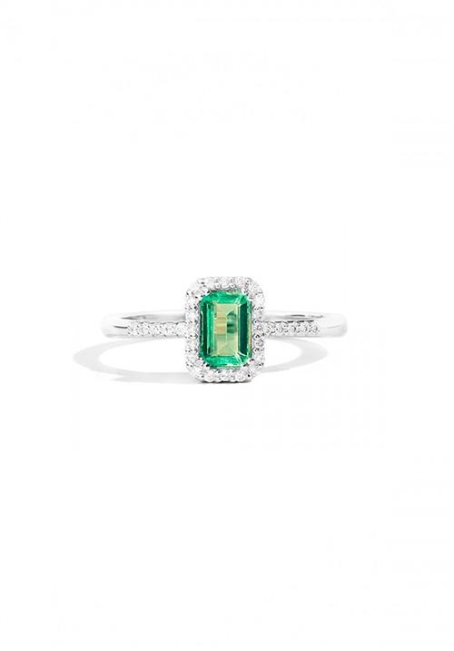 ReCarlo anello Smeraldo - Oro bianco 18 Kt e diamanti taglio brillante