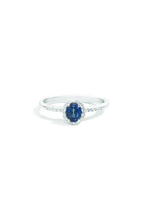ReCarlo Anello con Zaffiro  - Oro bianco 18 Kt e Diamanti carati 0.09