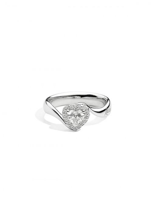 ReCarlo Anello Solitario Cuore - Oro bianco 18 kt e Diamanti Carati 0.24