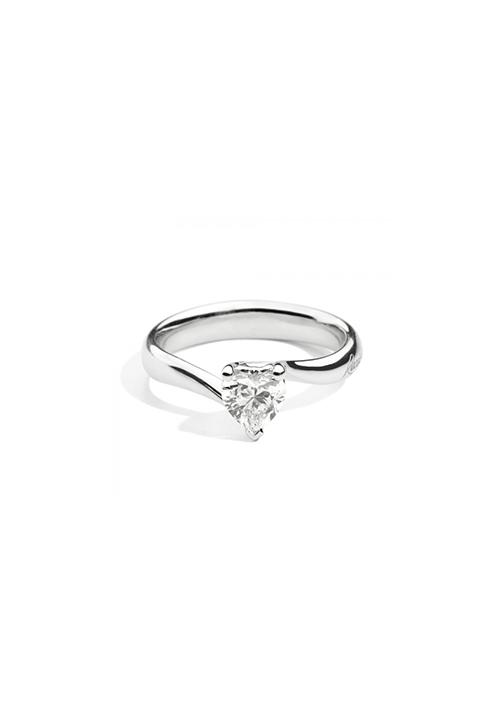 ReCarlo Anello Solitario Cuore - Oro bianco 18 kt e Diamante Carati 0.41
