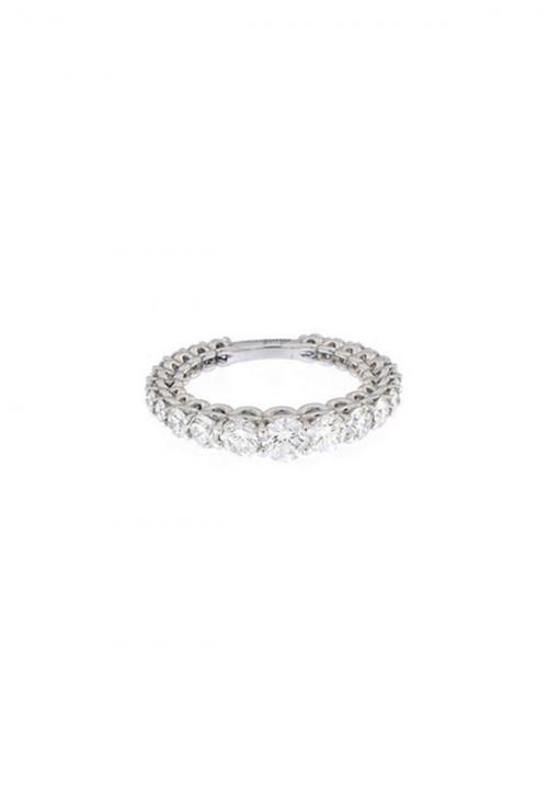 Recarlo Anello Veretta Scalare  - Oro Bianco 18 Kt e Diamanti  Carati 1.98