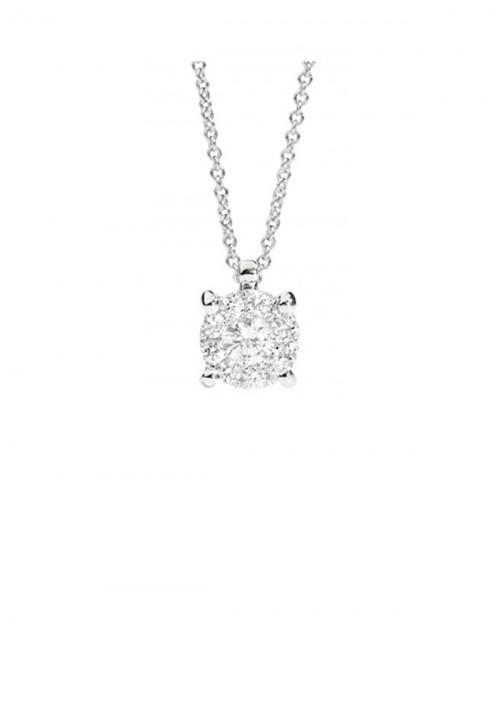 ReCarlo Collana Girocollo Punto Luce - Oro bianco 18 Kt e diamanti Carati 0.40