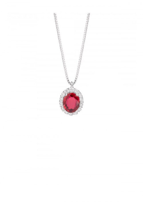 ReCarlo Collana Girocollo Rubino - Oro bianco 18 Kt e diamanti Carati 0.07