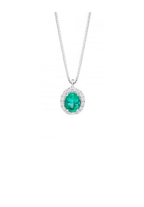ReCarlo Collana Girocollo Smeraldo - Oro bianco 18 Kt e diamanti Carati 0.07