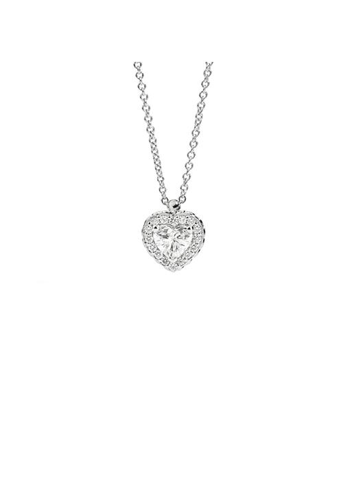 ReCarlo Collana Girocollo Punto Luce Cuore - Oro bianco 18 Kt e diamanti Carati 0.40 - Collezione Anniversary Love