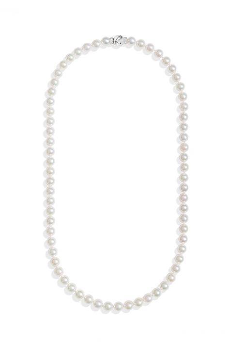 ReCarlo Collana Perle Giapponesi - Chiusura Oro bianco 18 Kt e diamanti | 5.5 - 6 mm
