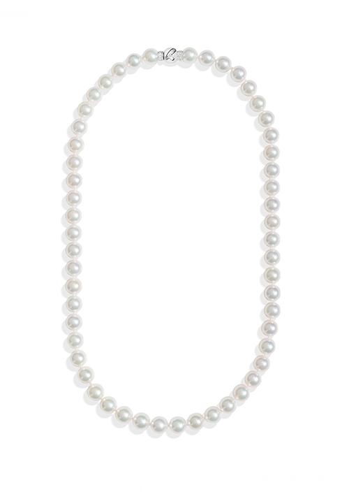 ReCarlo Collana Perle Giapponesi - Chiusura Oro bianco 18 Kt e diamanti| 6.5 - 7 mm