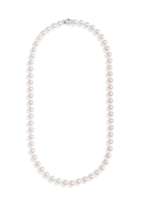 ReCarlo Collana Perle Giapponesi - Chiusura Oro bianco 18 Kt e diamanti| 6 - 6.5 mm