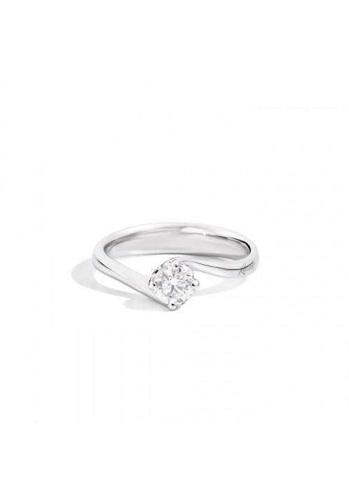 Recarlo Anello Solitario - Oro Bianco 18 Kt e Diamanti  Carati 0.30