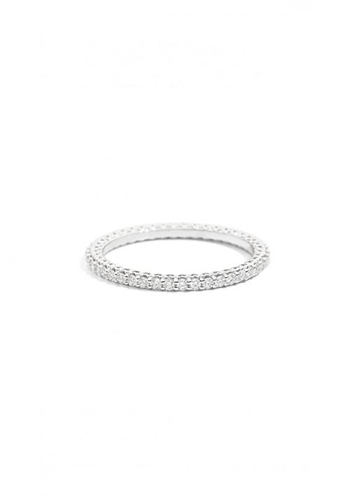 ReCarlo Anello Fedina Girodito in Oro bianco e diamanti taglio brillante, Carati 0.45