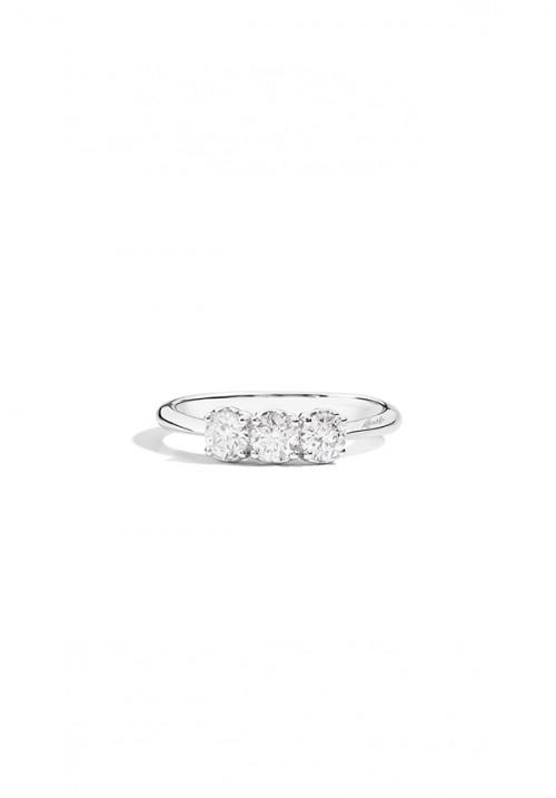 Recarlo Anello Tre Diamanti - Oro bianco 18 Kt e diamanti taglio brillante - Carati 0.75