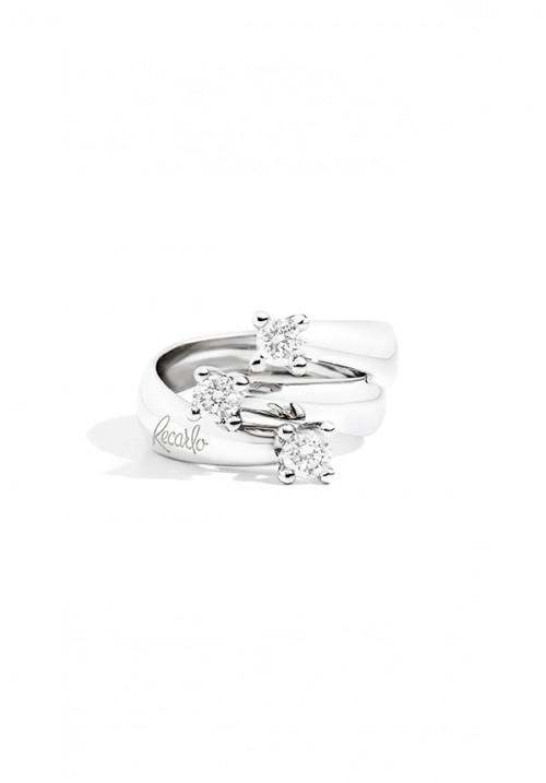 ReCarlo Anello Tre Pietre - Oro bianco 18 kt e Diamanti Carati 0.50