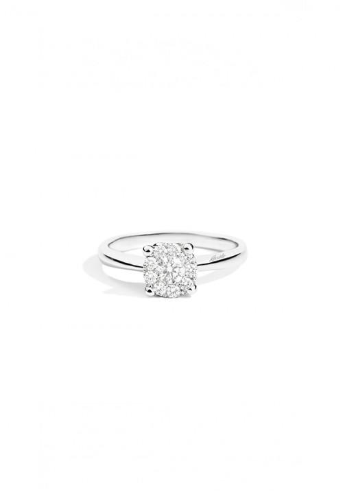 ReCarlo Anello Solitario - Oro bianco 18 Kt e Diamanti Carati Totali 0.05