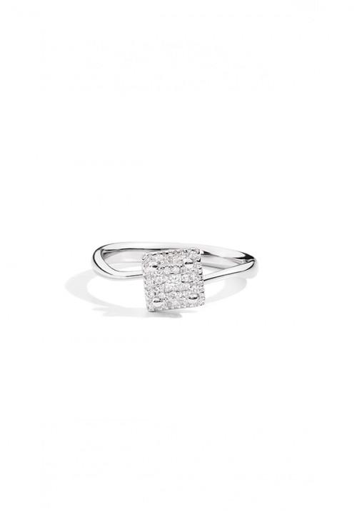 ReCarlo Anello Solitario  - Oro bianco con Diamante centrale taglio Princess Carati 0.17