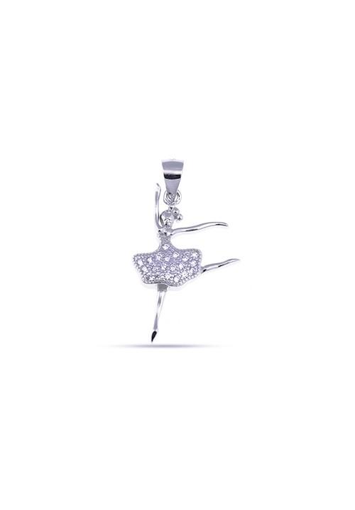 Ciondolo Ballerina in Argento 925 e Zirconi