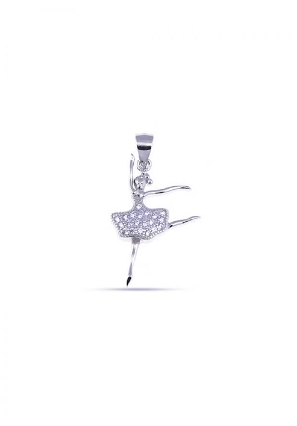 8840e7d134 Ciondolo Ballerina in Argento 925 e Zirconi - ArteDelCorallo Gioielli