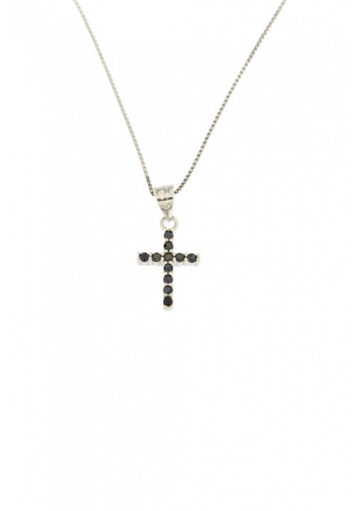 Collana con croce piccola in Argento 925 con zirconi neri