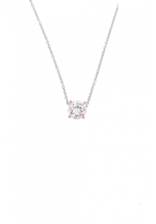 Collana  con pendente zircone punto luce in Argento 925  color oro rosa