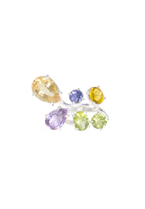 Anello in argento 925 - Pietre naturali multicolore
