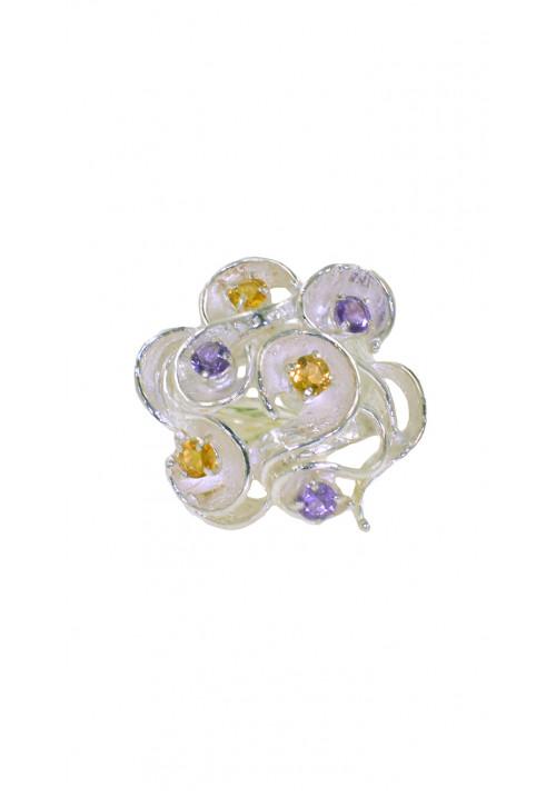 Anello in argento 925 - Pietre naturali di colore viola ed ocra