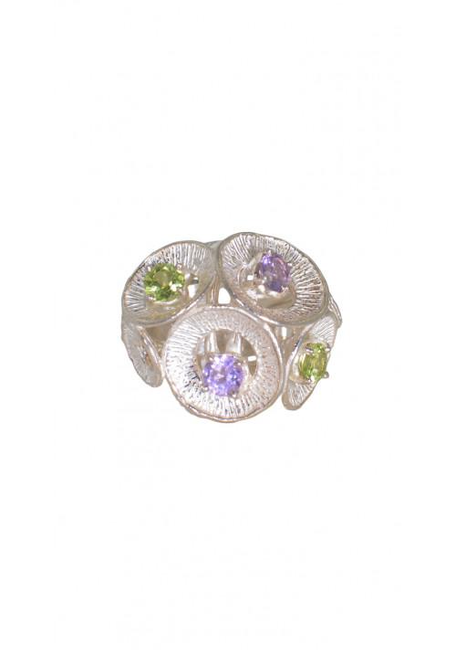 Anello in argento 925 - Pietre naturali di diverso colore