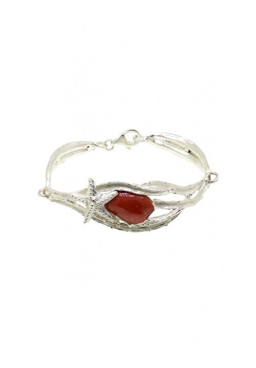 Bracciale in argento 925 e corallo rosso