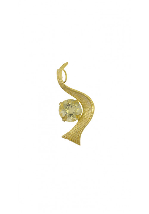 Ciondolo in argento 925 dorato e quarzo citrino