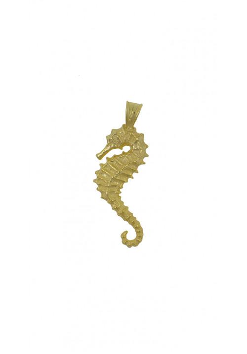 Ciondolo in argento dorato forma di cavalluccio marino