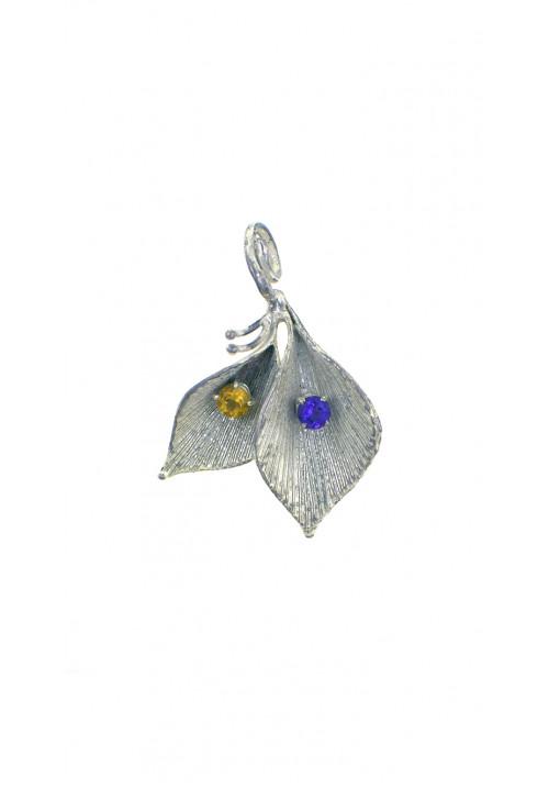 Ciondolo in argento 925 con cristalli - Foglia