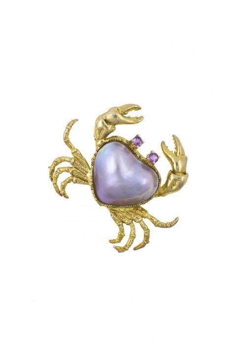 Ciondolo in argento dorato a forma di granchio con perla mabè