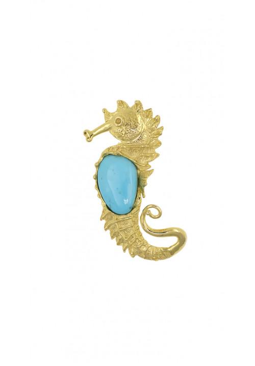 Ciondolo in argento dorato | Forma di ippocampo con turchese