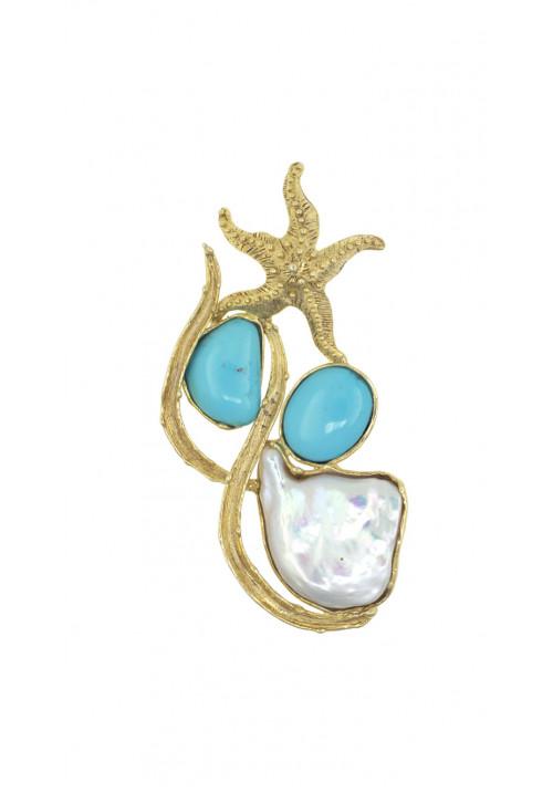 Ciondolo in argento con turchesi e perla di acqua dolce