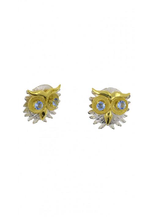 Orecchini argento 925 forma di gufo