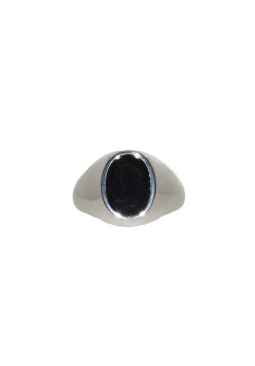 Anello mignolo Unisex con pietra nera ovale