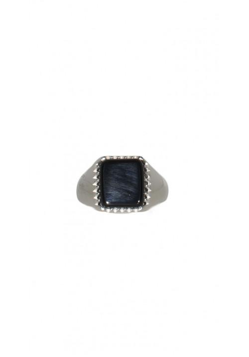 Anello mignolo Unisex con pietra nera - ANUOAR18