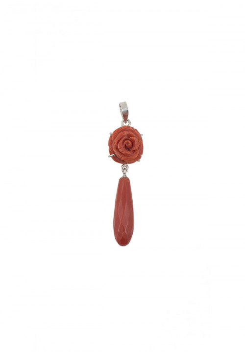 Ciondolo argento e corallo rosso