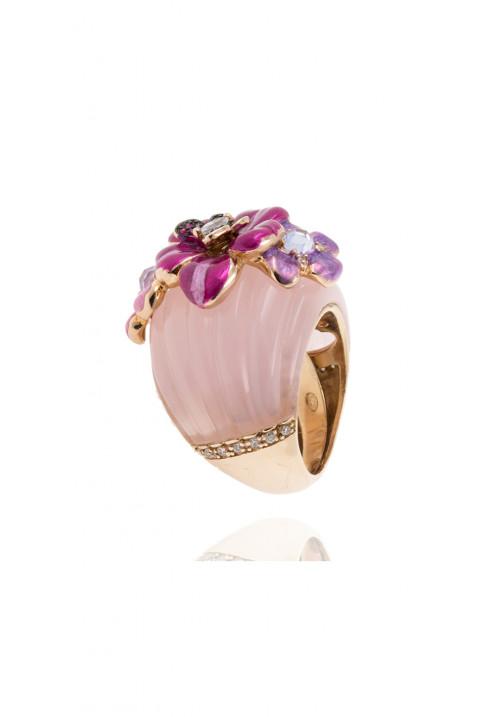 Anello in argento - zirconi bianchi, rosa e viola e resina