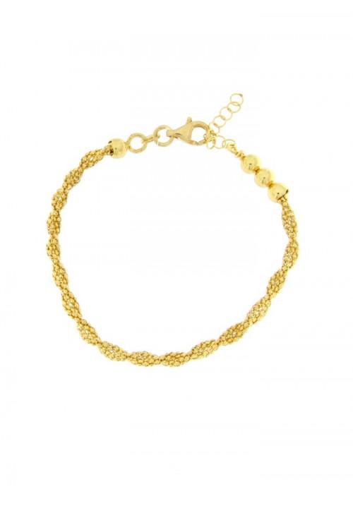 Bracciale Donna in Argento dorato - Modello Treccia - BNBR21