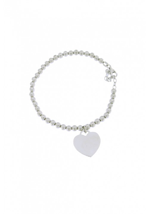 Bracciale in argento a palline con ciondolo a forma di cuore