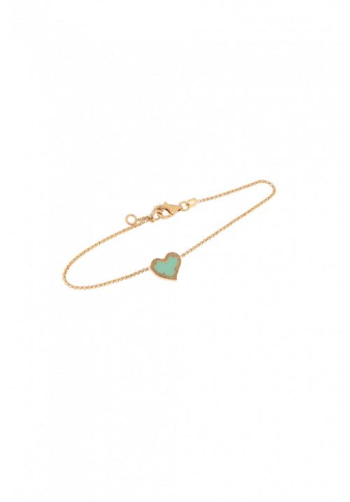 Bracciale in argento color oro rosa - Centrale a forma di cuore celeste