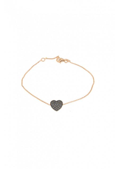 Bracciale in argento color oro rosa - Cuore e Zirconi blu