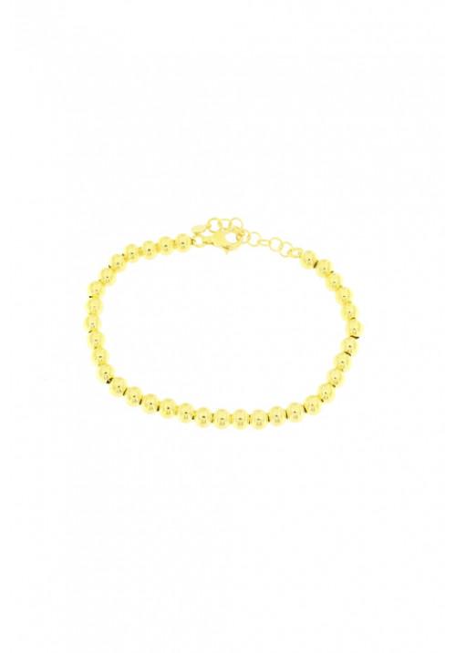 Bracciale in argento color oro giallo a palline