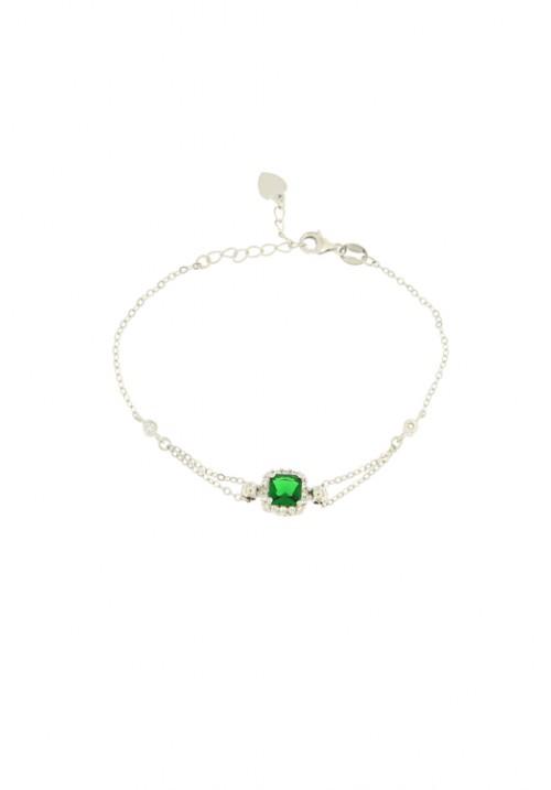 Bracciale in argento con centrale zirconi - color smeraldo