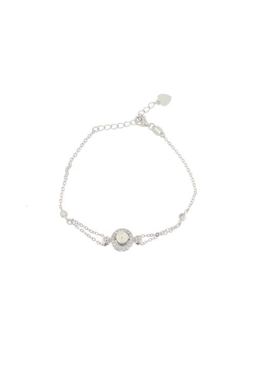 Bracciale in argento con centrale perla e zirconi