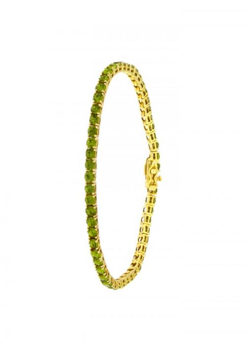Bracciale Tennis in Argento  - Modello Gold Green Brilliant - BRTEN12